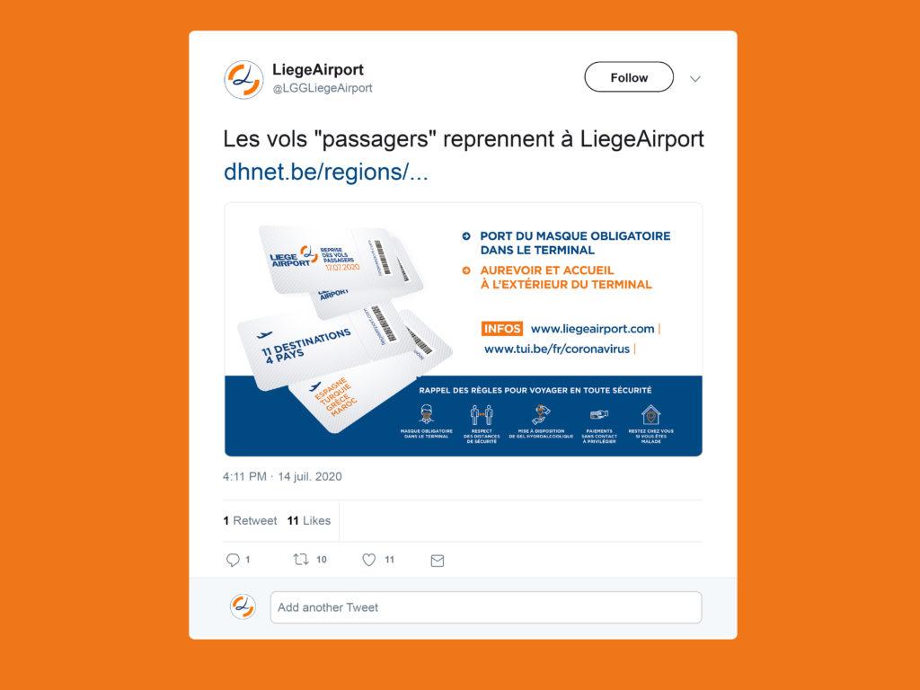 Liege Airport - twitter - Reprise des vols passagers